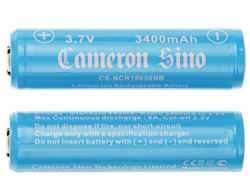 18650 Cameron sino 3400mAh  Li-Ion batteri 3,7 V - Skyddskrets - Button-top