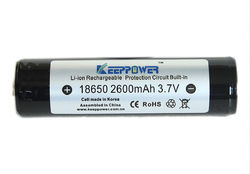 18650 Keeppower Samsung 2600 mAh 5A Li-Ion batteri 3,7 V - Skyddskrets - Button-top